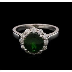 2.45 ctw Green Tourmaline and Diamond Ring - 14KT White Gold