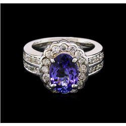 2.77 ctw Tanzanite and Diamond Ring - 14KT White Gold