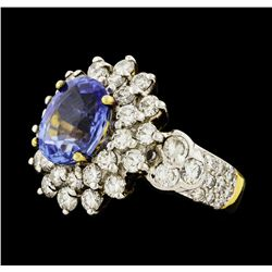 2.85 ctw Sapphire and Diamond Ring - 9KT Yellow Gold With Rhodium