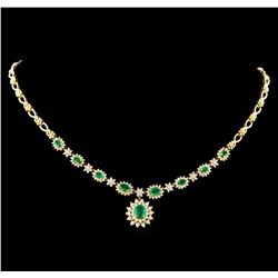 2.94 ctw Emerald and Diamond Necklace - 14KT Yellow Gold