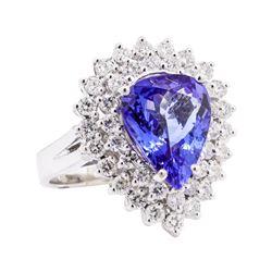 5.10 ctw Tanzanite and Diamond Ring - 14KT White Gold