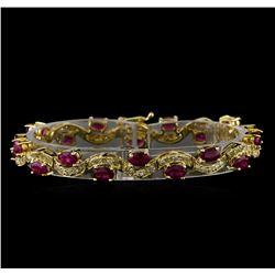 7.74 ctw Ruby and Diamond Bracelet - 14KT Yellow Gold