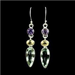 Natural Purple & Green Amethyst - Citrine Earrings