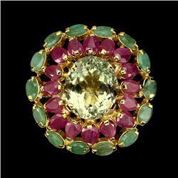 Natural Green Amethyst 15x11mm, Emerald Ruby Ring