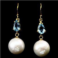 Natural Swiss Blue Topaz & Japanese Pearl Earrings