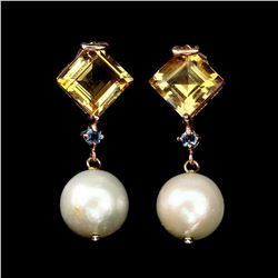 Natural 10 MM Citrine Pearl & Topaz Earrings