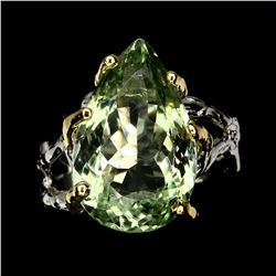 Natural 19x12mm Green Amethyst Ring