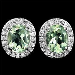 NATURAL Light GREEN Tea AMETHYST Earrings