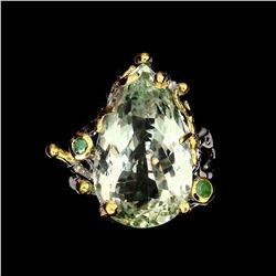 Natural Handmade 21x13mm Green Amethyst Emerald Ring