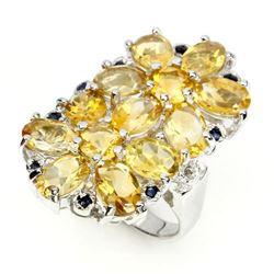 Natural Citrine & Sapphire Ring