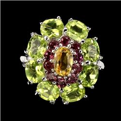 Natural Yellow Citrine Peridot Rhodolite Ring