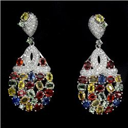 Natural Multi Color Fancy Sapphire 49 Carats Earrings
