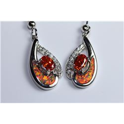 Stunning Fire Natural Opal & Spessarite Gems Earrings
