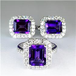 Natural Purple Amethyst  Jewelry Set