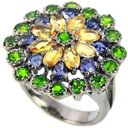 Natural CHROME DIOPSIDE CITRINE SAPPHIRE  Ring