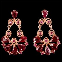 Natural BLOOD RED RUBY PEAR & ROUND Flower Earrings
