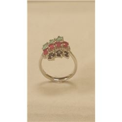 Gorgeous 8.75 ct Blue Sapphire, Ruby and Emerald Ring.