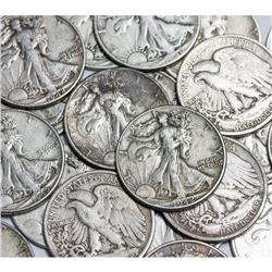 (100) Walking Liberty Half Dollars 90% Silver