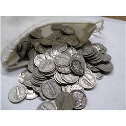Canvas Bank Bag w/ 200 Mercury Dimes 90% Silver