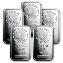 (5) Sunshine Mint 1 oz Silver Bars
