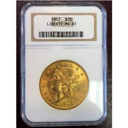 1907 MS 61 NGC $20 Gold Liberty Better Date