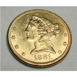 1881 $5 Gold Liberty Half Eagle