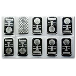 (10) 1 oz Silver Morgan Design Silver Bars