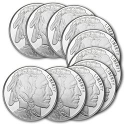 (10) Buffalo Design 1 oz. Silver Rounds .999 Pure