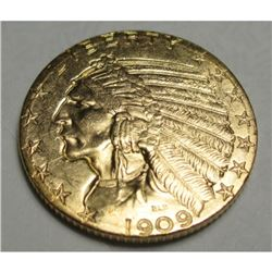 1909 D $5 Five Gold Indian Half Eagle