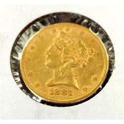 1881 $ 5 Gold Liberty