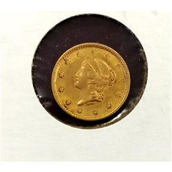 1854 $ 1 Gold Liberty Type I - VG