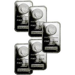 Lot of (5) Silver Bars 1 oz Morgan Design