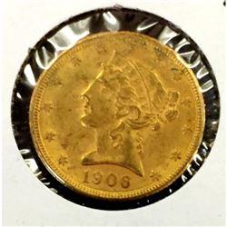 1906 D $ 5 Gold Liberty