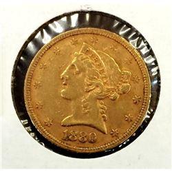 1880 S 5 Gold Liberty