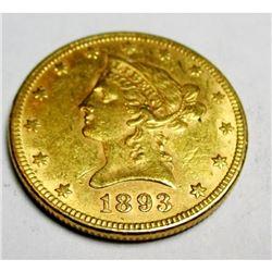 1893 P $ 10 Gold Liberty Eagle AU Grade