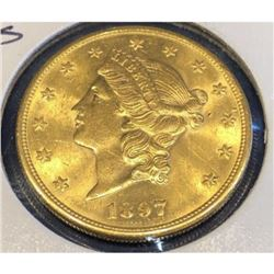 1897 S Better Date BU Grade $20 Gold Liberty
