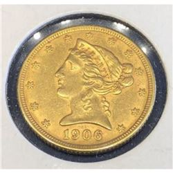 1906 D Better Date $5 Gold Liberty