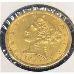 1907 $5 Gold Liberty XF AU Grade