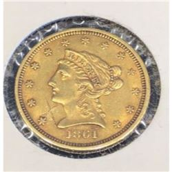 RARE 1861 Civil War Era Gold $2.5 Liberty