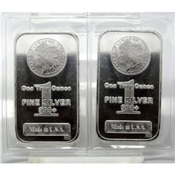 (2) Morgan Design Silver Bars - 1 oz. Bars -