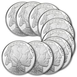 (10) 1 oz. Buffalo Silver Rounds