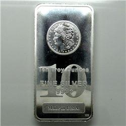 10 oz. Silver Morgan Design Silver Bar .999 Pure