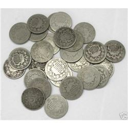 Type Coin Lot -20 pcs. Shield Nickels - G-VG