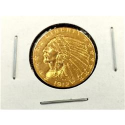1912 $2.5 Gold Indian in 2x2 XF AU