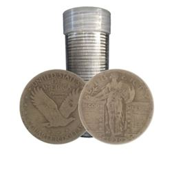 $10 Face Value Standing Liberty Quarters in tube