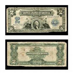 1899 $2 Silver Certificate G-VG Grade Cameo