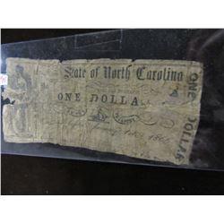 1866 POOR GRADE (SCARCE) USA STATE OF CAROLINA $1 BANK NOTE