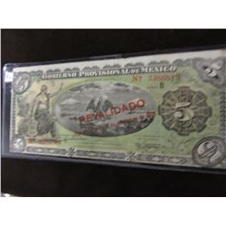 1914 BANK OF MEXICO 5 PESO CURRENCY BANK NOTE