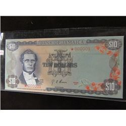 1977 BANK OF JAMAICA $10 EVELOPEA STAMPED BANK NOTE