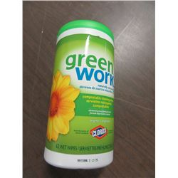 NEW - GREEN WORKS (62) WET WIPES - PER CONTAINER